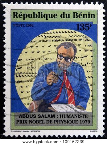 BENIN - CIRCA 2002: A stamp printed in Benin shows Abdus Salam humanist nobel prize in physics 1979