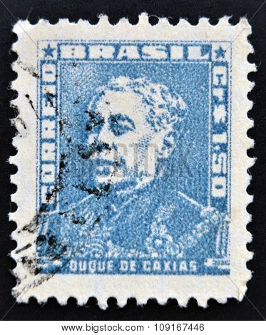 stamp printed in Brazil shows a military officer politician and monarchist Luis Alves de Lima