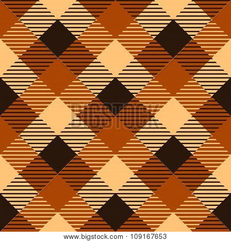 Checkered tartan fabric seamless pattern in brown and orange, vector