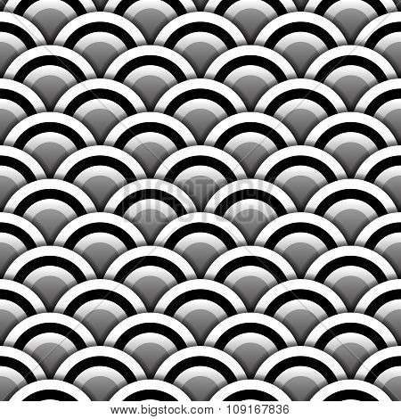 Paper circles with shadow in black and white seamless pattern, vector
