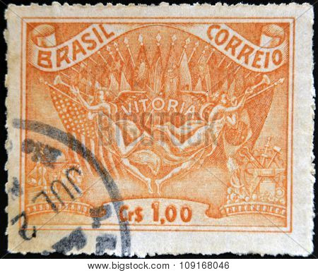 BRAZIL - CIRCA 1945: A stamp printed in Brazil dedicated to to the Allied victory in World War II