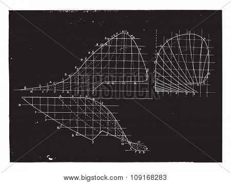 Elevation profile and map of the Belgian moldboard Berkmans, vintage engraved illustration. Industrial encyclopedia E.-O. Lami - 1875.plow,plough,furrow,tool,equipment,instrument