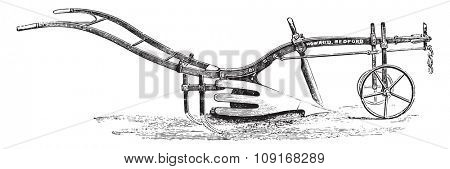 Howard plow harrow teeth with scavenger in the back, vintage engraved illustration. Industrial encyclopedia E.-O. Lami - 1875.
