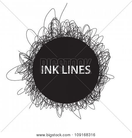 Abstract Ink lines background on white