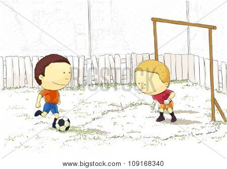 Children playing football in the yard