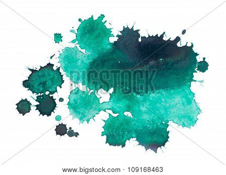 watercolor blot, drop, background isolated on white background