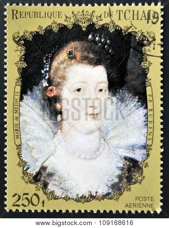 CHAD - CIRCA 1972: A stamp printed in Chad shows Marie de' Medici by Rubens circa 1972