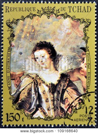 CHAD - CIRCA 1972: A stamp printed in Chad shows Anna of Austria Queen of Spain by Rubens circa 1972