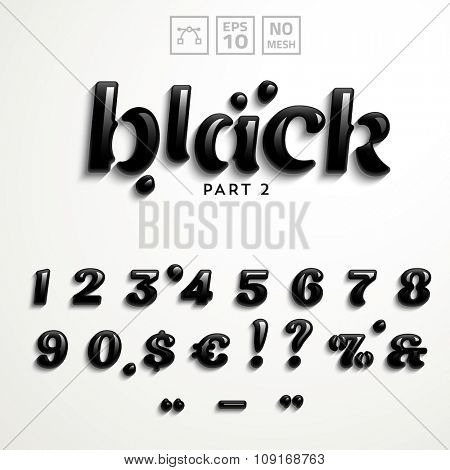 Vector numbers and symbols made of rock-oil. Additional set for the Black Font style.