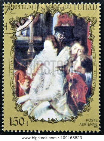 CHAD - CIRCA 1972: A stamp printed in Chad shows marriage Marie de' Medici by Rubens circa 1972