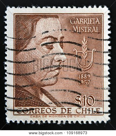 CHILE - CIRCA 1959: A stamp printed in Chile shows Nobel Prize Winner Gabriela Mistral circa 1959.