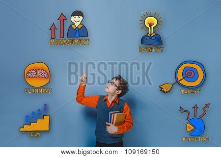 Teen boy with glasses shows a finger upward surprised collection
