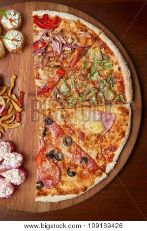 composition at plate by pizza and sushi for fast food illustration