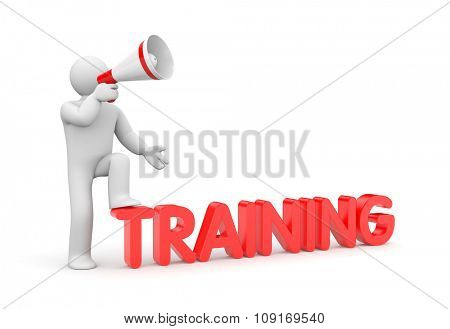 Man with megaphone and word training