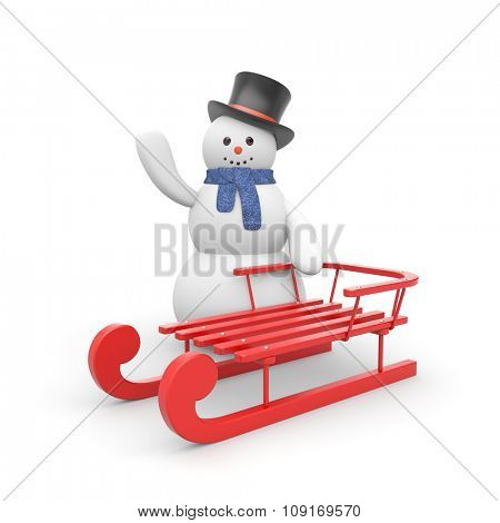 Snowman with red sled