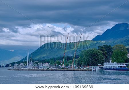 Yachts in the port town of Evian-les-Bains on Lake Geneva