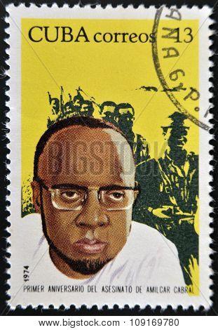 CUBA - CIRCA 1974: A stamp printed in Cuba shows portrait of Amilcar Cabral