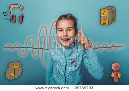Teen girl held up a finger up laughing opening of the sound wave