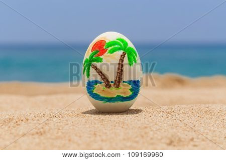 Tropical painted easter egg