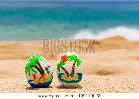 Tropical painted easter eggs