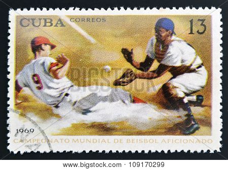 CUBA - CIRCA 1969: a stamp printed in Cuba shows the World championship on baseball circa 1969