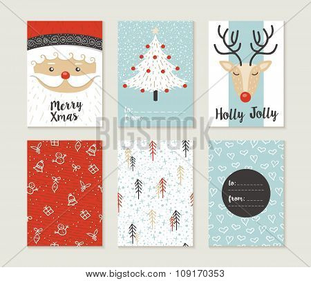 Merry Christmas Card Set Pattern Retro Cute Santa