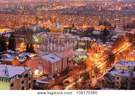 Orthodox Church In Evening City Lights Panoramic View, Orel, Russia, Smolenskaya Church