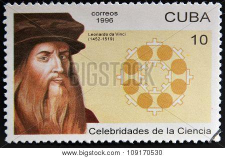 CUBA - CIRCA 1996: a stamp printed in Cuba shows an image of Leonardo da Vinci circa 1996.