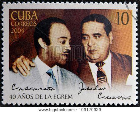 CUBA - CIRCA 2004: A stamp printed in cuba shows Julio Cueva y Orlando Guerra Cascarita circa 2004