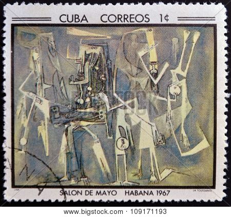 Stamp printed in Cuba commemorative to May Salon 1967 shows La Toussainte by Wilfredo Lam