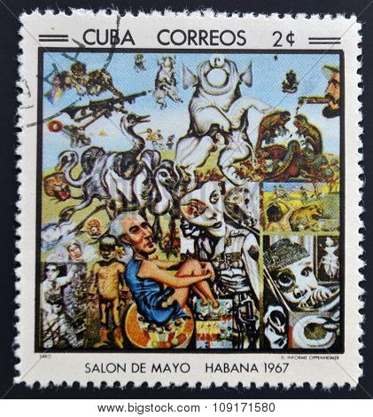 Stamp printed in Cuba commemorative to May Salon 1967 shows Oppenheimer's Information by Erro