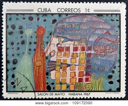 Stamp printed in Cuba commemorative to May Salon 1967 shows Night of the Drinker by F. Hunderwasser