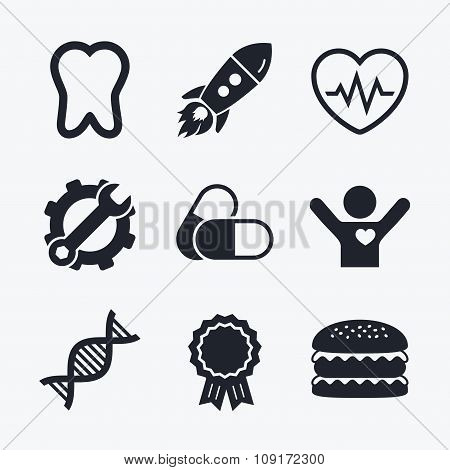 Medical icons. Pills, tooth, DNA and Cardiogram.