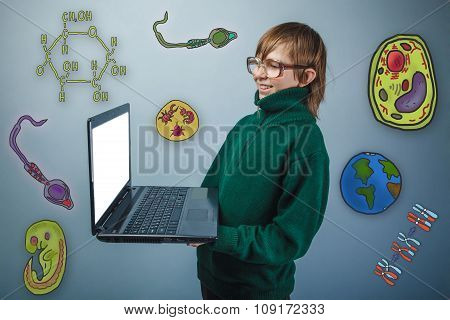 Teenage boy in glasses holding a laptop in hands and laughs icon