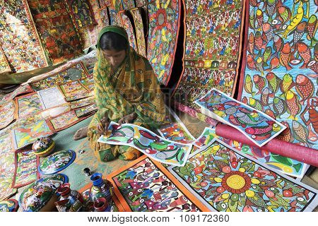 Handicrafts Are Perpared For Sale By Rural Indian Woman.