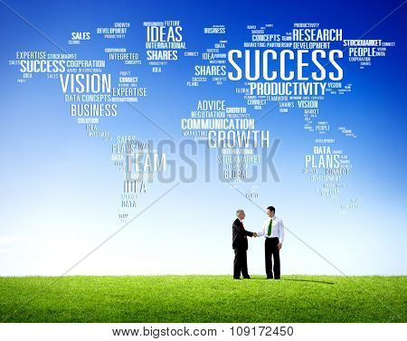 Global Business People Greeting Handshake Success Growth Concept