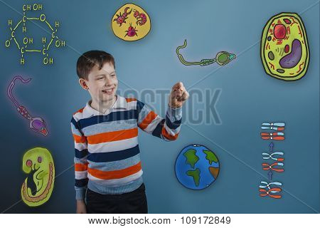 teenage boy laughing and holding a finger pleased icons biology