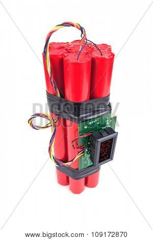 bomb with digital timer isolated