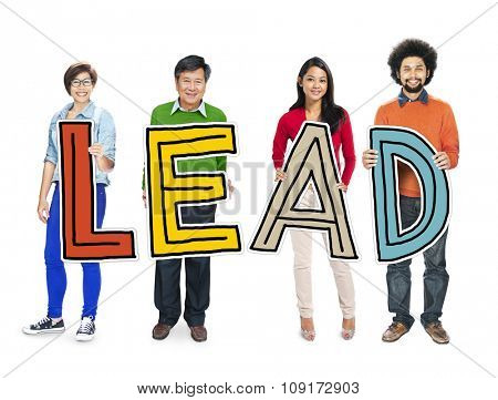 Multiethnic Group of People Holding Letter with Lead Concept