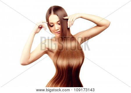 Long hair. Hairstyle. Hair Salon. Fashion model with shiny hair. Woman with healthy hair girl with luxurious haircut. Hair loss