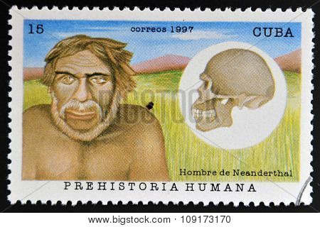 A stamp printed in Cuba dedicated to human prehistory shows Neanderthal man