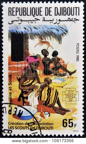 DJIBOUTI - CIRCA 1985: A stamp printed in Djibouti dedicated to the hygiene and children circa 1985