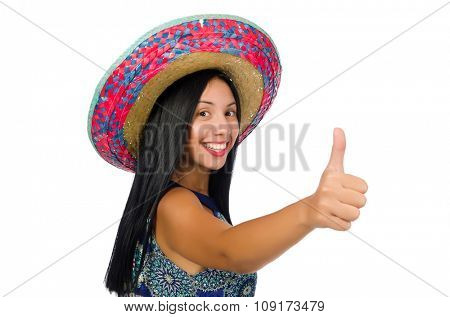 Young attractive woman wearing sombrero on white