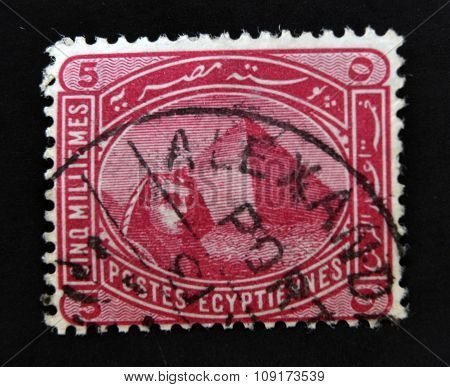 EGYPT - CIRCA 1888: A stamp printed in Egypt showing the Great Sphinx and pyramid of Giza circa 1888