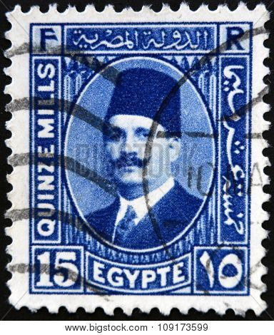 EGYPT - CIRCA 1930: a stamp printed in Egypt shows King Fuad I of Egypt circa 1930
