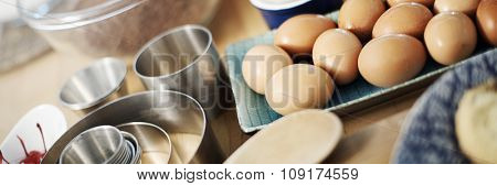 Bakery Equipment Cooking Preparation Tools Concept, blurred