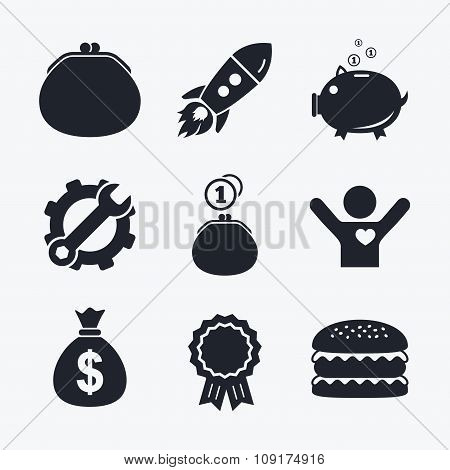 Money bag icons. Wallet and piggy bank symbols.