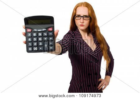Young businesswoman with calculator on white