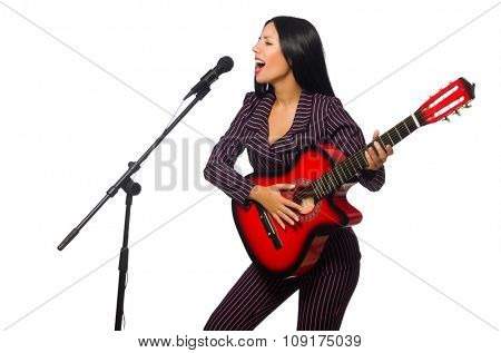 Woman playing guitar and singing isolated on white