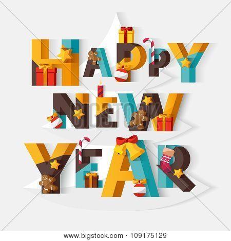 Happy New Year typographic poster.